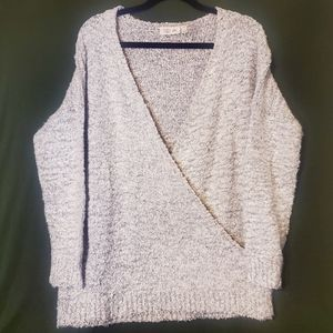 RD Style Light Boucle Nubby Knit Wrap Sweater
